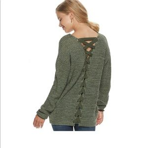 SO lace up back vneck sweater